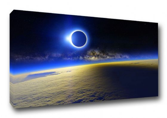 Blue Solar Eclipse. Space Themed Art Canvas. Sizes: A3/A2/A1